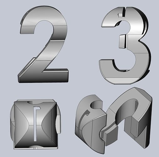 1-2-3 3-way perspective text geometry gimmick 3d model obj mtl 3ds dxf stl dae sldprt sldasm slddrw 1
