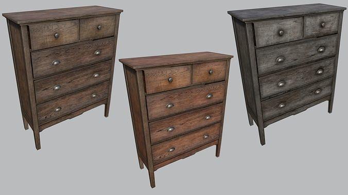 large old wooden dresser pbr 3d model low-poly max obj mtl 3ds fbx dae tga 1