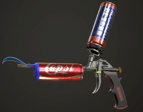 3D asset game-ready Handmade FlameThrower