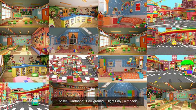 asset - cartoons - background - hight poly 3d model max obj mtl fbx ma mb hrc xsi tga 1