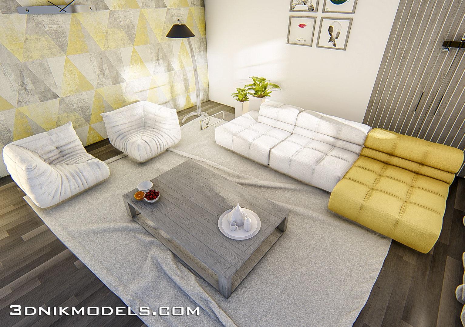 3dnikmodels Sofa Set 2 3d Model