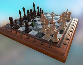3D asset realtime Chess Set - highpoly and lowpoly