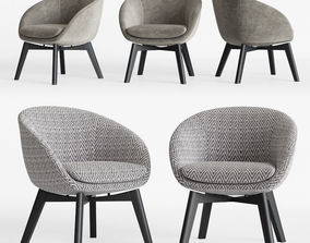 3D Minotti Russell Little Lounge Fixed Armchair