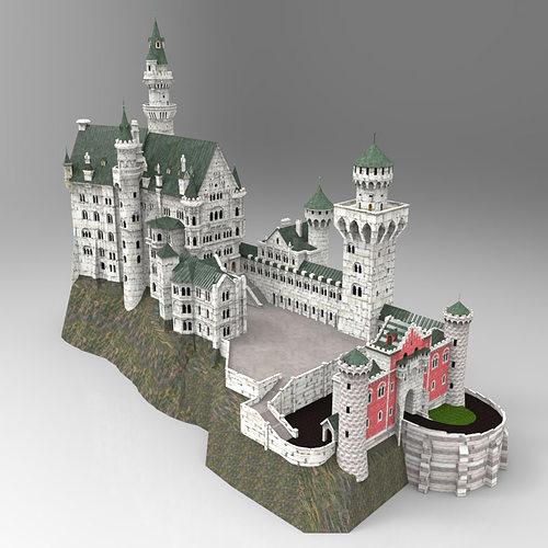 neuschwanstein castle in obj and fbx formats 3d model obj mtl fbx pdf 1
