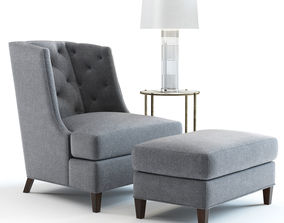Baker Moderne Wing Chair 3D model