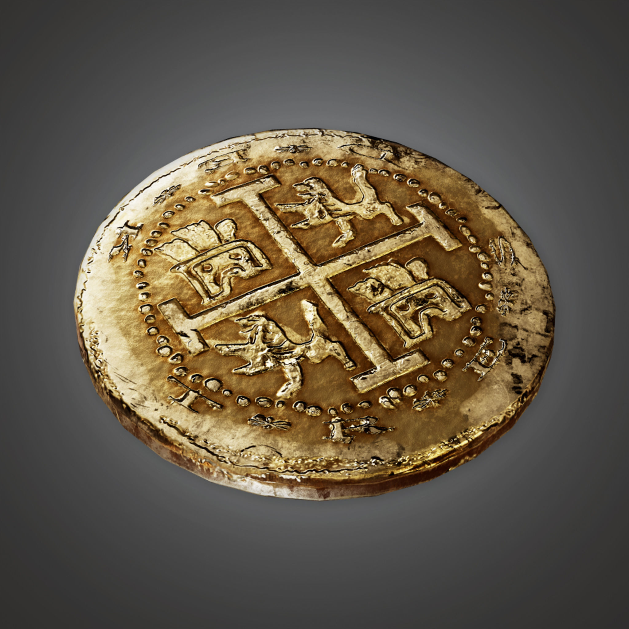 TRS - Ancient Treasure Coin 01 - PBR Game Ready