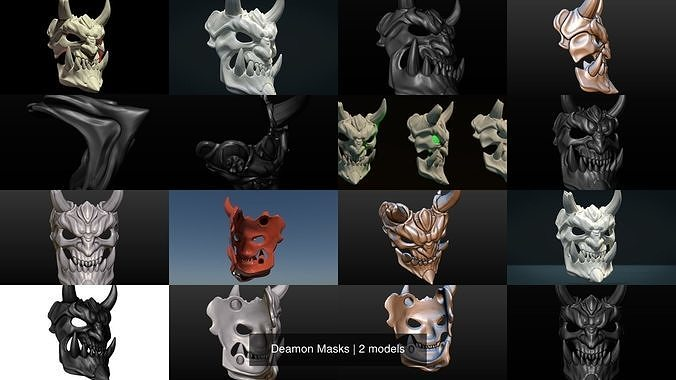 deamon masks 3d model obj mtl 3ds fbx stl blend 1