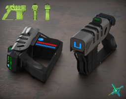 3d model laser pistol
