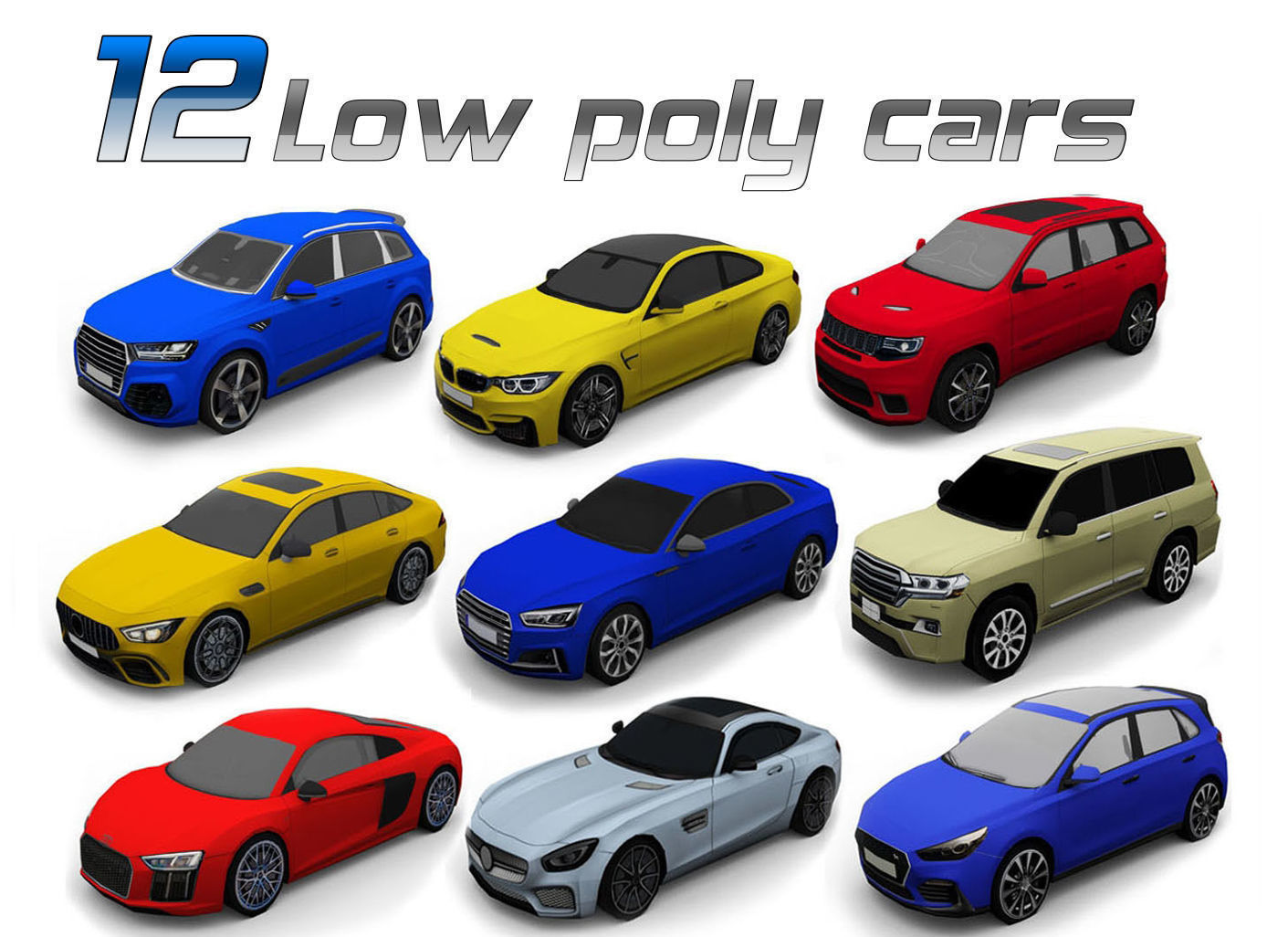 12 Low poly cars 3D model
