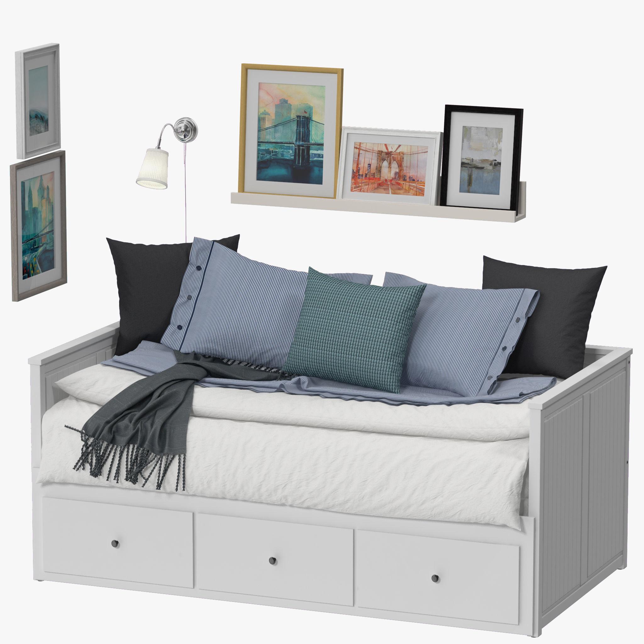 Ikea Hemnes Bedbank.3d Model Ikea Hemnes Bed Cgtrader