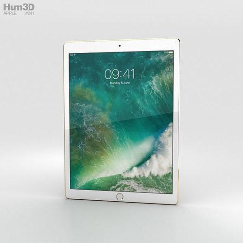 apple ipad pro 12-9-inch 2017 cellular gold 3d model max obj mtl 3ds fbx c4d lwo lw lws 1