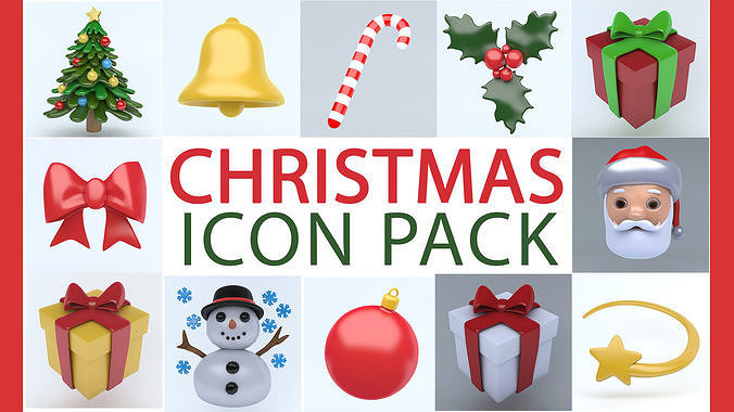 christmas icon pack 3d model max obj mtl 3ds fbx 1