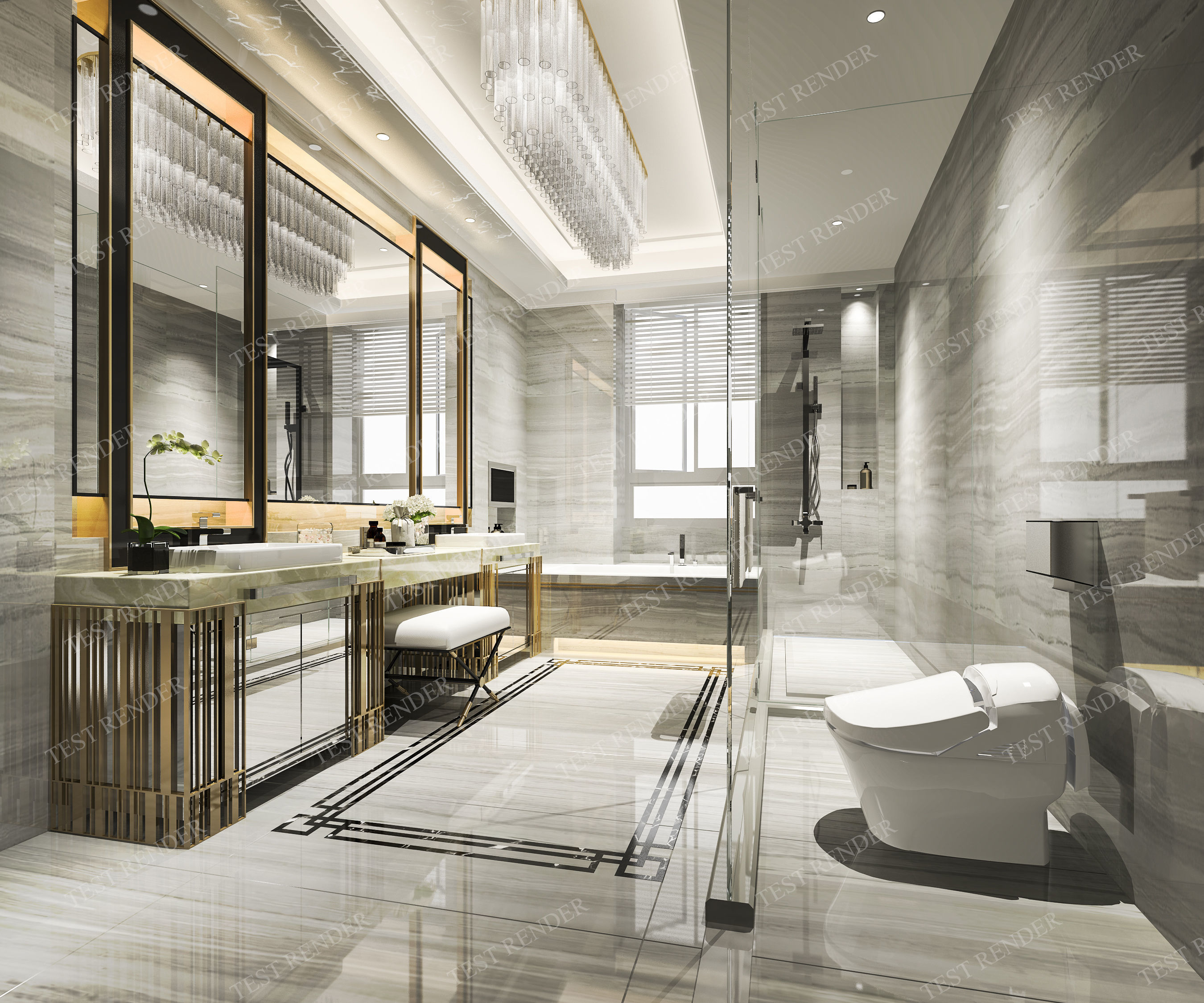 Modern Interior Design Review: Modern Luxury Marble Toilet And 3D Model