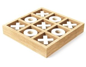 350 Rustic Mango Wood and Aluminum Tic Tac Toe 3D model 1