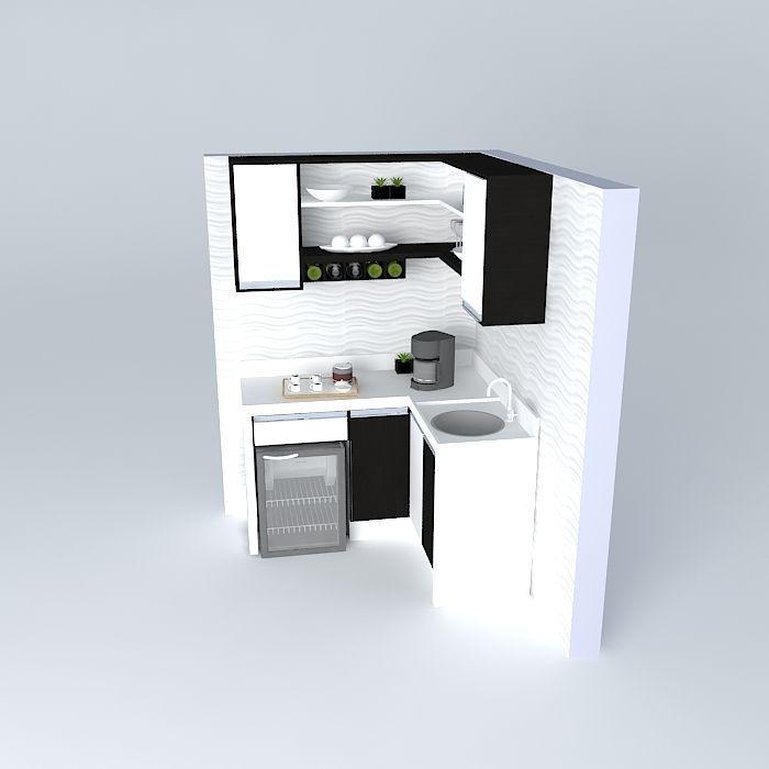 Kitchen free 3d model max obj 3ds fbx stl dae for Kitchen set 3ds max