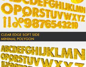 realtime 3D Golden Polygonal Alphabet 39 PCS