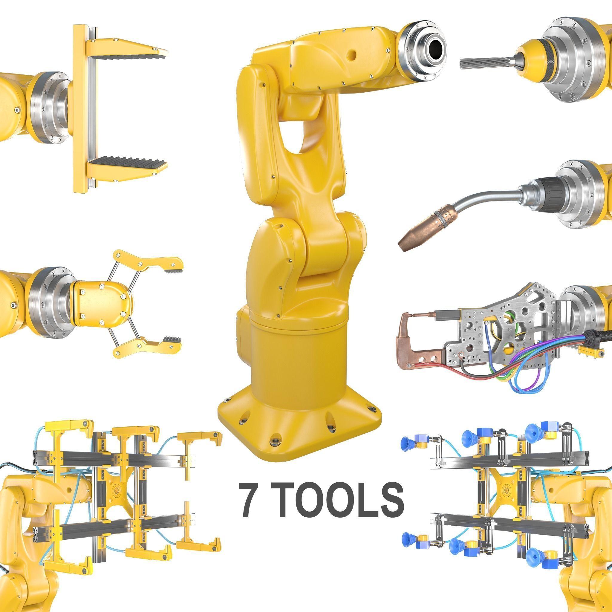Industrial Robotic Arm   and 7 tools 3D model