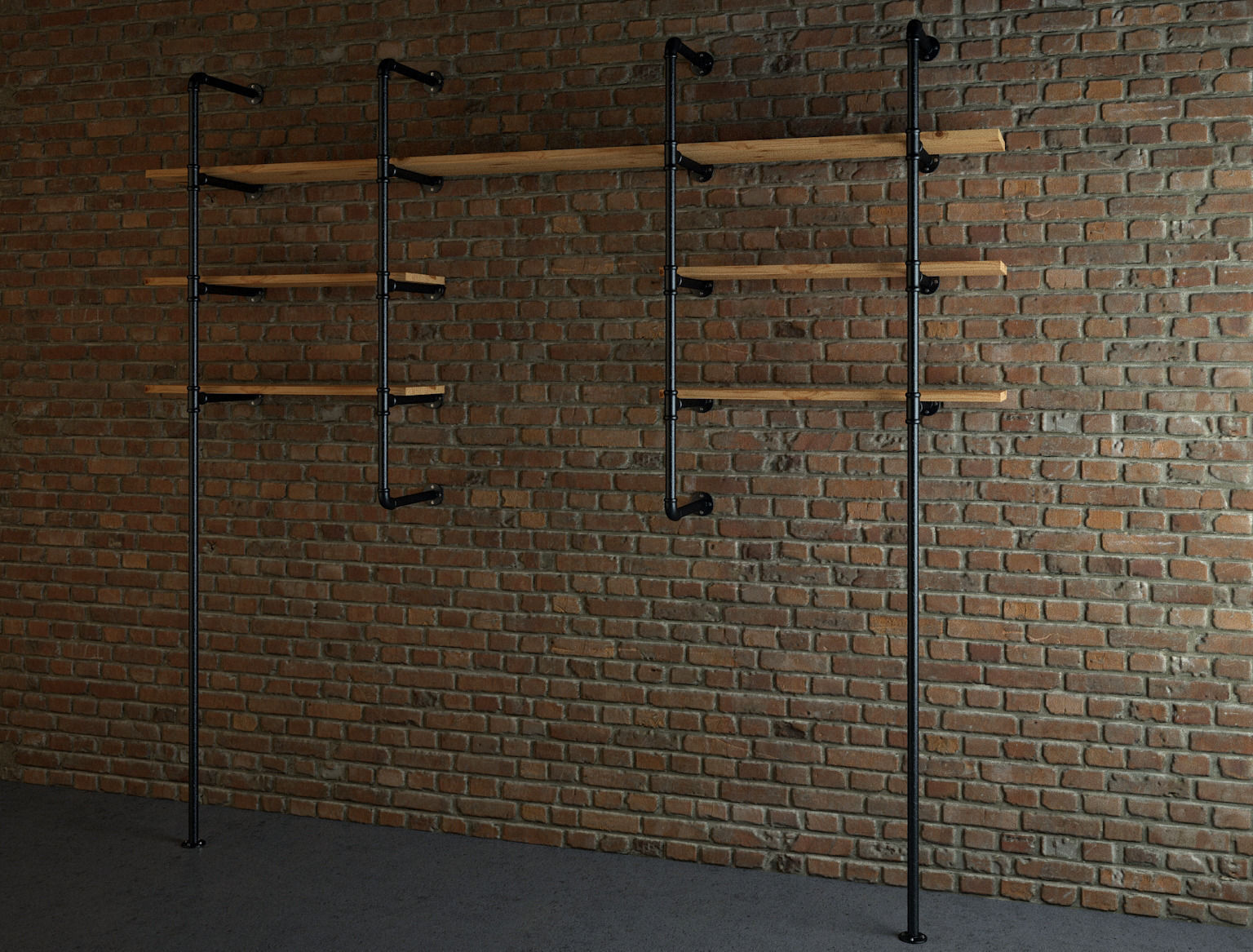 Industrial style pipe shelves 3D model | CGTrader
