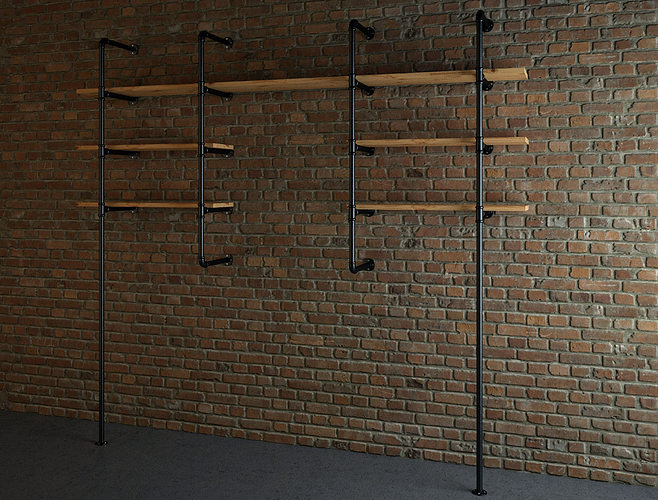 industrial style pipe shelves 3d model max 1