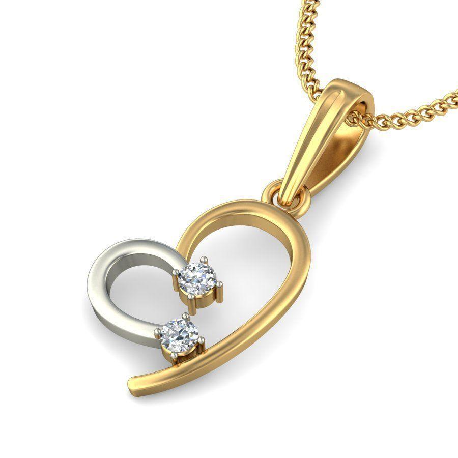 heart diamond pendant  3dm stl render detail