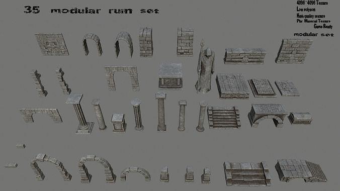 old ruin set 3d model low-poly obj mtl fbx blend 1