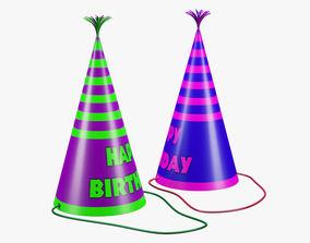 3D asset Paper Birthday Hat 01