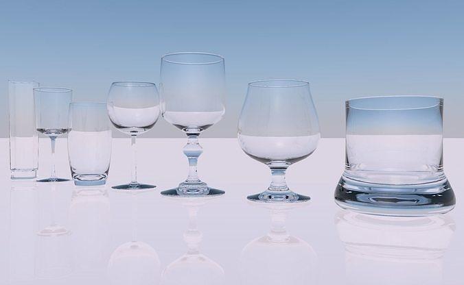 pack of glasses 3d model obj mtl 3ds fbx c4d stl dae 1