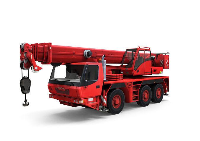 mobile auto crane 3d model low-poly max obj mtl fbx c4d 1