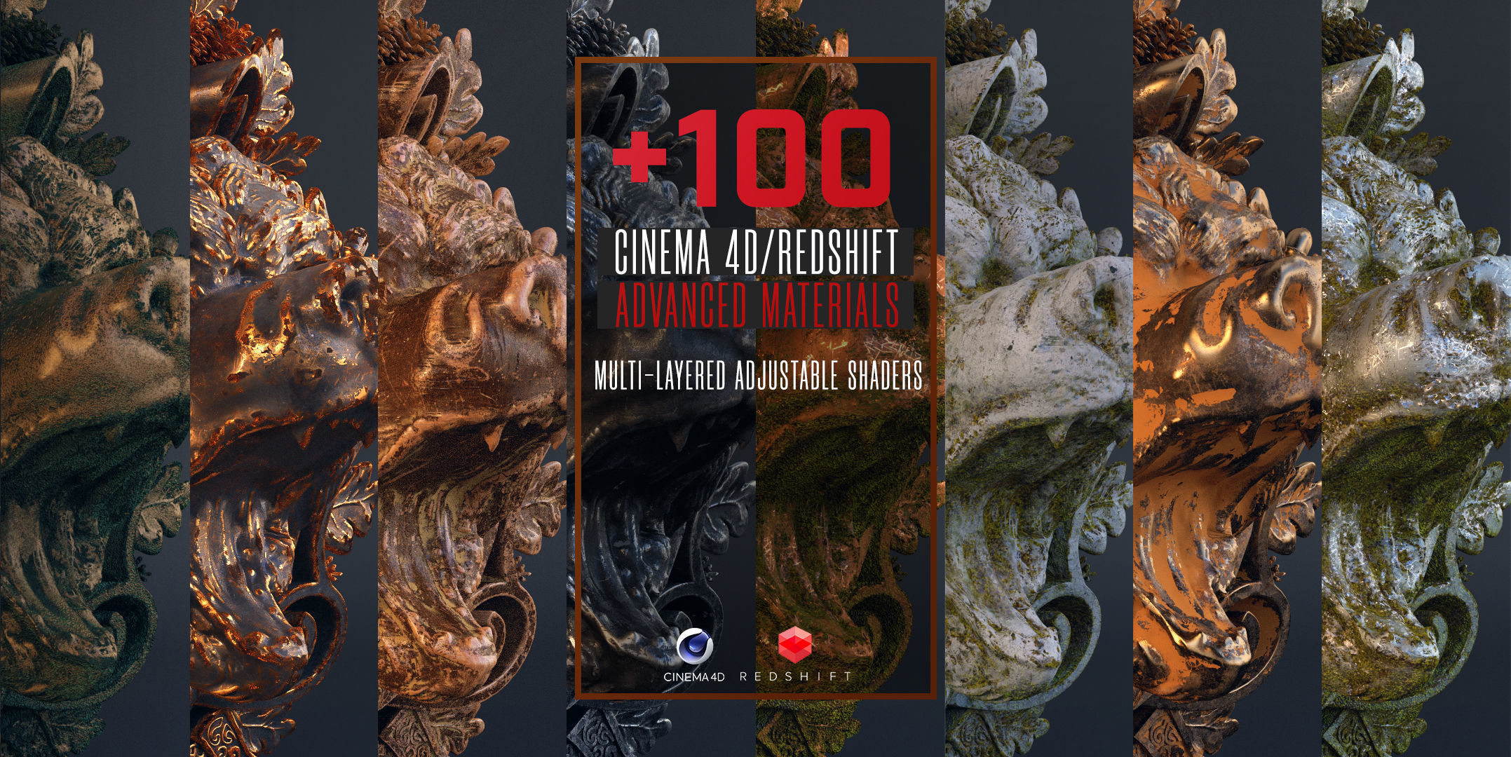100 C4D Redshift Advanced Materials
