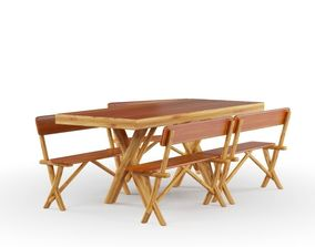 Picnic Table and Chairs 3D