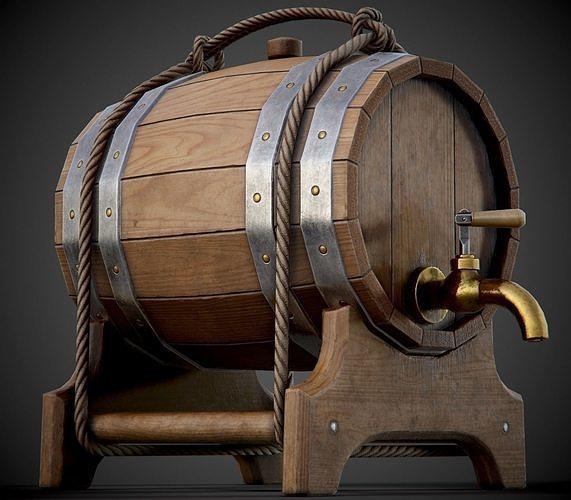 wooden barrel for booze - pbr game-ready 3d model low-poly max obj mtl fbx uasset 1