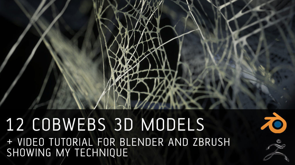 12 Cobwebs 3D models with tutorial for Blender and Zbrush | 3D model