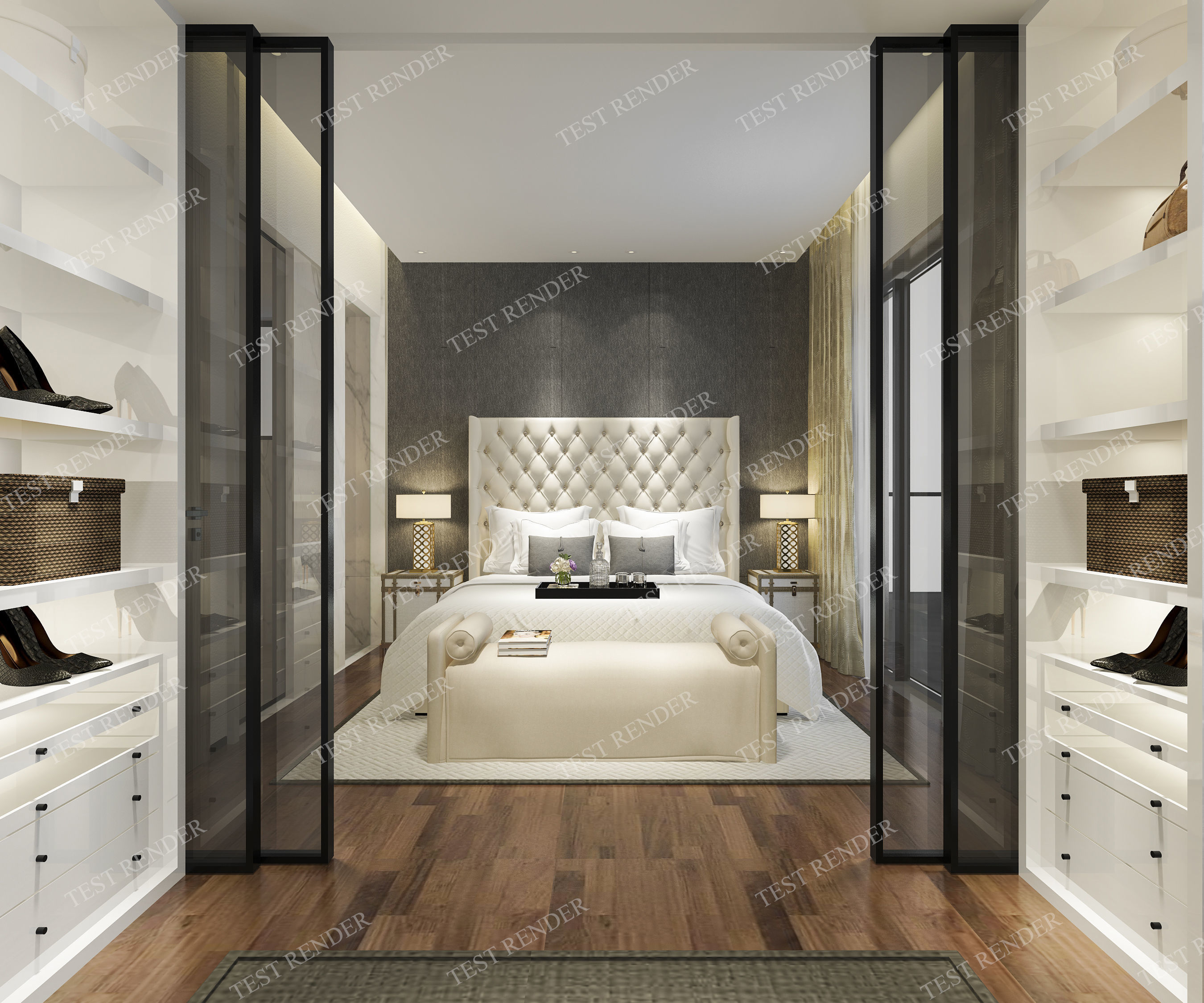 . luxury modern bedroom suite with wardrobe and walk in closet   3D model