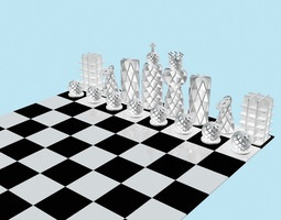 low-poly 3d asset 3d printable model chess