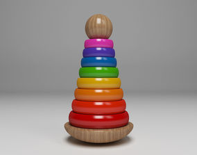 Wooden Toddler Toy Tower 3D