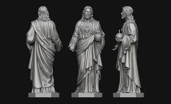 jesus with sacred heart statue 3d model obj mtl stl 1