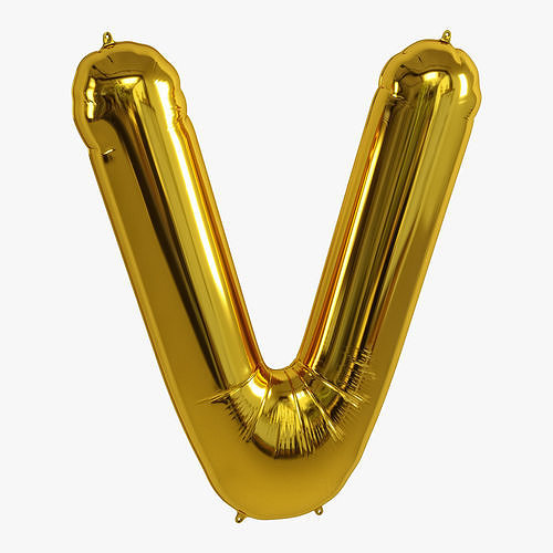 foil balloon gold v 3d model max obj mtl fbx ztl 1