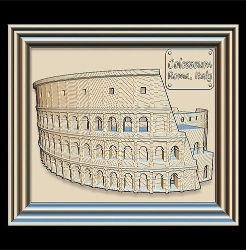 colosseum panno stl file for cnc relief engraving 3d model max obj mtl 3ds ma mb stl 1