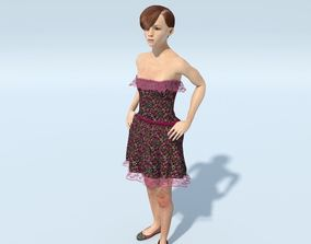 FREE Teen Girl - Scarlet 3D animated