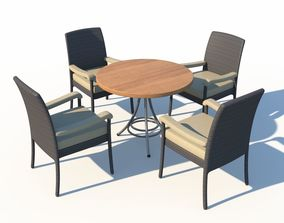 3D Rattan Chairs And Cafe Table