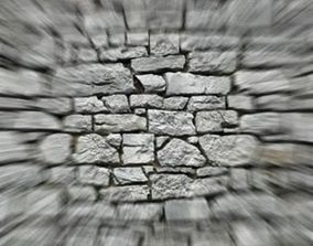 Stone wall 3D asset low-poly