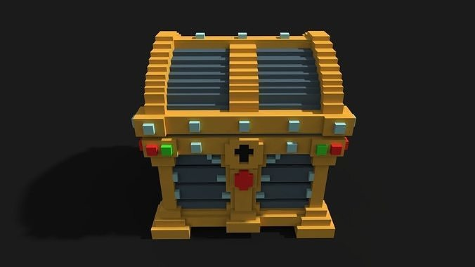 chest voxel 3d model low-poly max obj mtl fbx ma mb tga 1