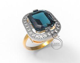 3D print model Ring emerald 12x10 rectangular gem