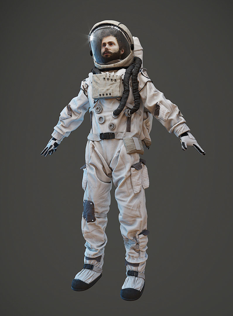 Spacesuit astronaut character with head and hair model
