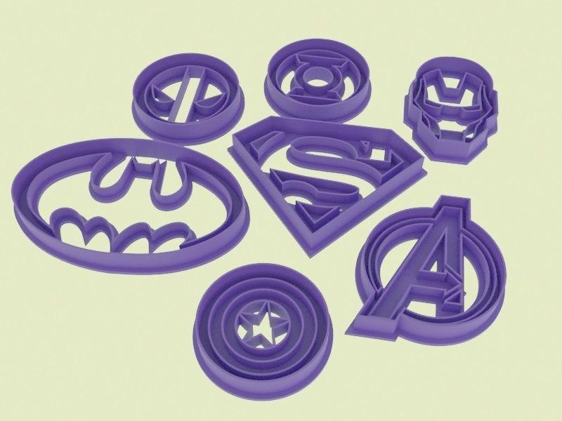 Super hero logo cookie cutters set