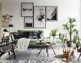 Vintage Living Room Interior Scene for Render 3D