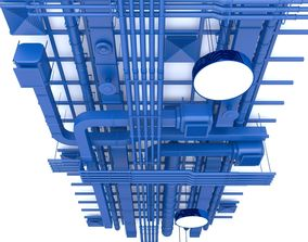 3D model Pipes industrial ceiling