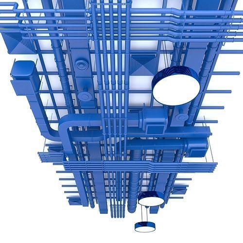 pipes industrial ceiling 3d model max obj mtl 3ds fbx dxf stl 1