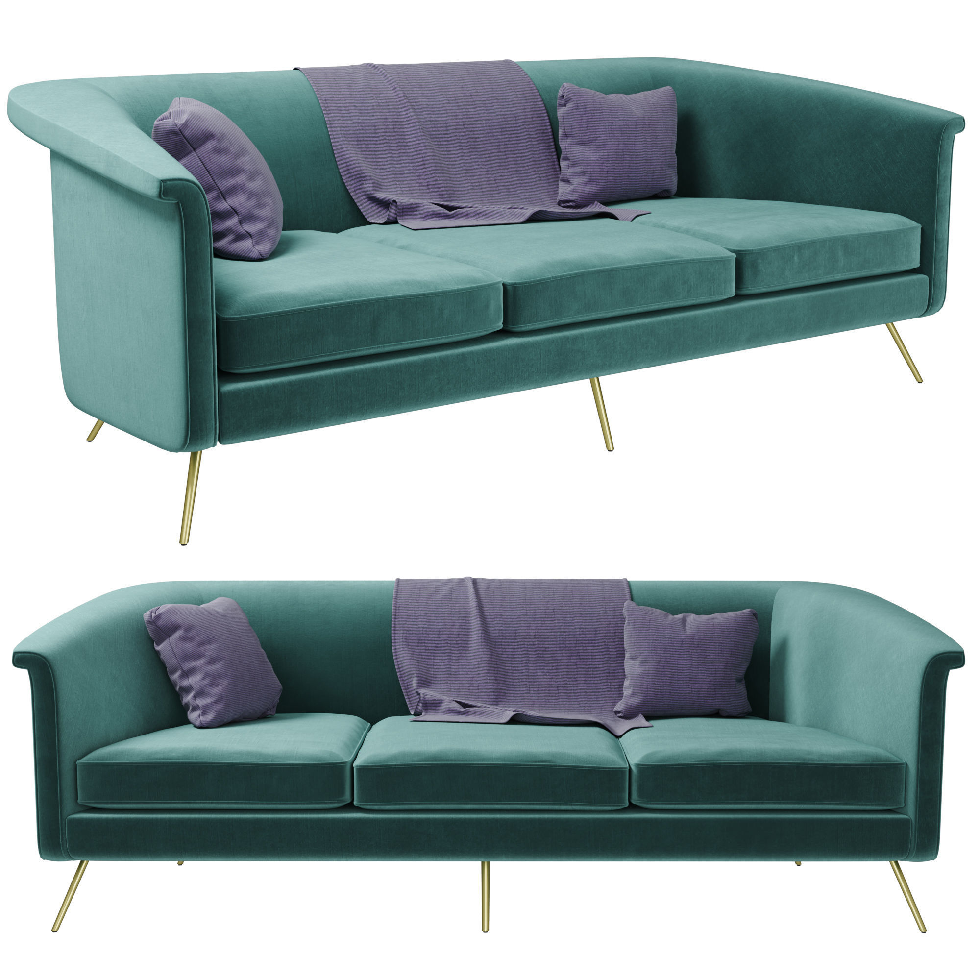 Magnificent Vicente Teal Velvet Sofa 3D Model Pabps2019 Chair Design Images Pabps2019Com