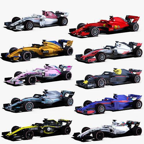 formula 1 2018 cars 3d model rigged obj mtl 3ds fbx c4d ma mb stl 1